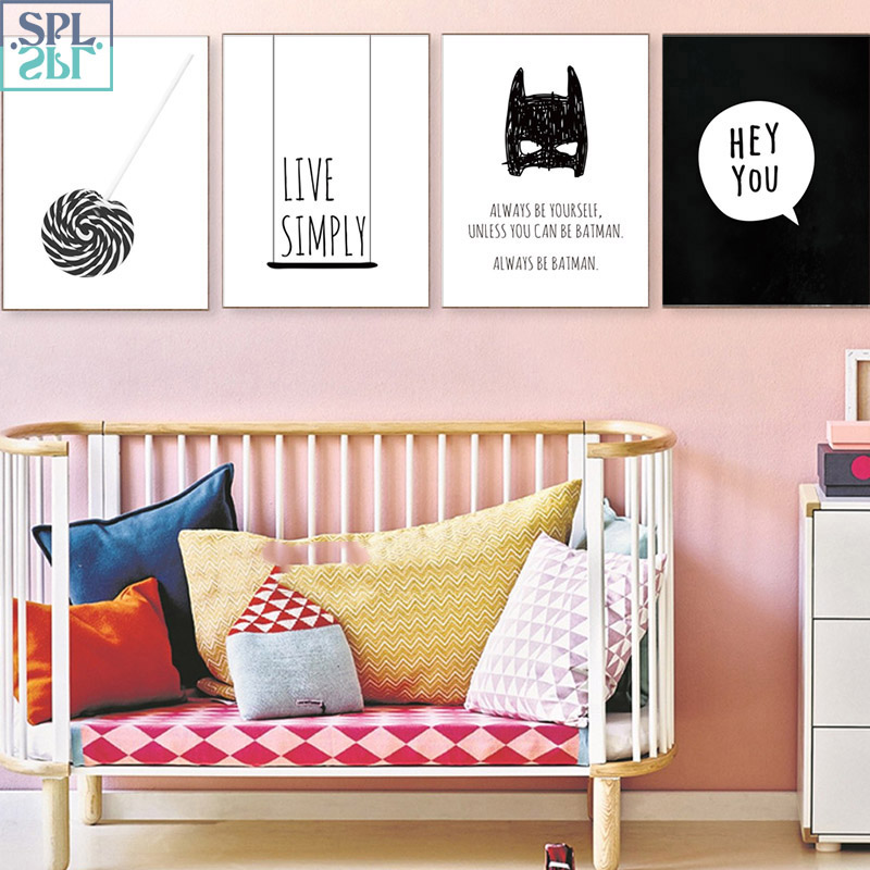 Us 5 49 50 Off Splspl Black And White Girls Room Decor Poster Cartoon Superhero Bedroom Decoration Wall A4 Art Picture Batman Canvas Painting In