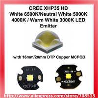 CREE XHP35 HD White 6500K/Neutral White 5000K 4000K / Warm White 3000K LED Emitter with 16mm/20mm DTP Copper MCPCB - 1pc