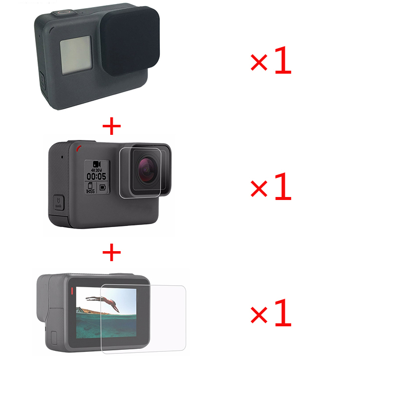 3 in 1 Accessories Lens Protection Cover+Tempered Film LCD Screen Protector + Lens Protector for Gopro hero 7 6 5 Action Camera(China)