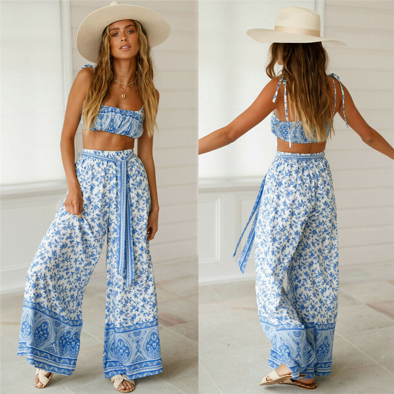 Women 2 Piece Set Floral Print Strap Summer Holiday Outfit Set Rompers Long Wide Leg Pants Trousers and Crop Top Set Suit