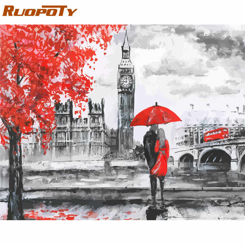 RUOPOTY Frame Diy Painting By Numbers London Lover Acrylic Wall Art Picture By Numbers Canvas Painting For Home Decoration Arts