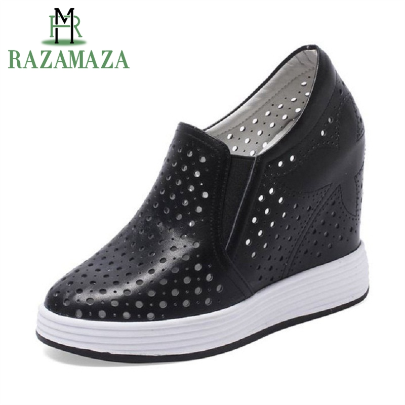 RAZAMAZA High Quality Women Pumps Genuine Leather Intersecting Height Shoes Round Toe Comfort Hollow Women Footwear