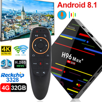 H96 Max plus Android 8,1 caja de TV RK3328 4 GB 32 GB 64 GB USB 3,0 de 2,4g/5G H.265 Dual WIFI Bluetooth 4,0 4 K HD h96 max + re