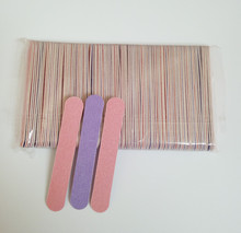 Promotion 20pcs lot Pink Purple Double Color 85mm Nail Files Wood Nail File Disposable Manicure Tools