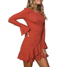 Women Boho Dress Fashion Headband Red Bell Sleeve Female Dresses Woman Party Night Long O-neck Clothing