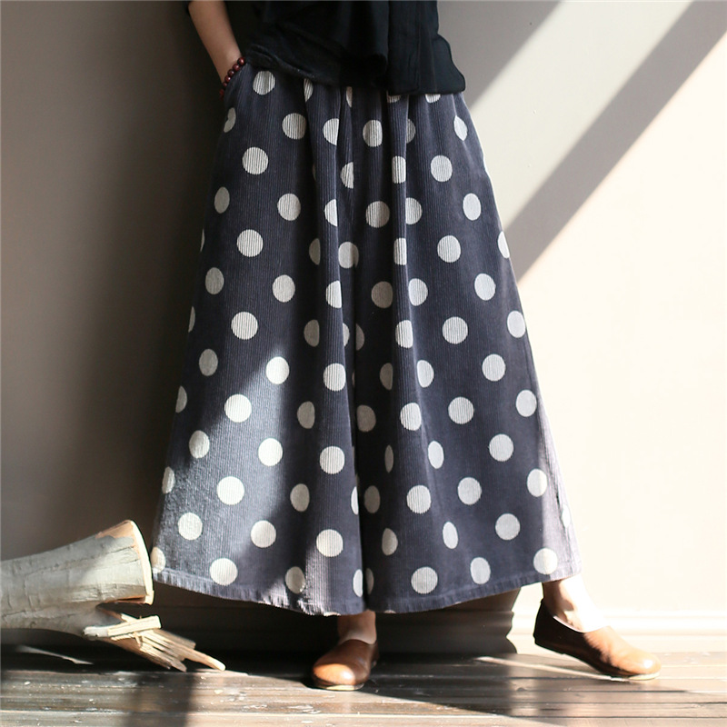 Johnature Women Corduroy   Wide     Leg     Pants   Vintage Elastic Waist Trouser 2018 Autumn New Print Dot Casual Soft Women Loose   Pants