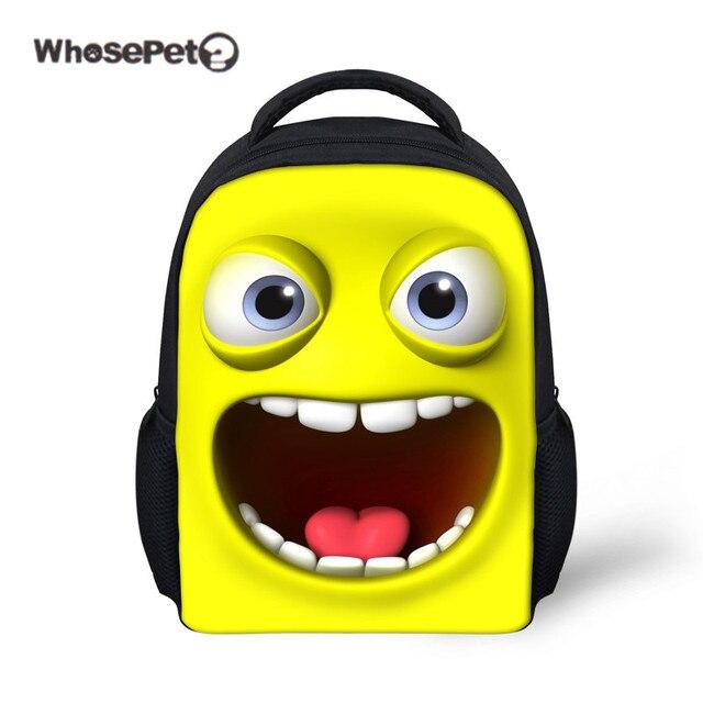 ec56436605 WHOSEPET Yellow Mini Backpack for Kid Emoji Kawaii Kindergarten Boys Girls  School Bag Cute Book Bag Small Rucksack Shoulder Bag