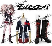 Dangan ronpa Junko Enoshima costume shoes Cosplay Costume + Boots Full Set Custom Made