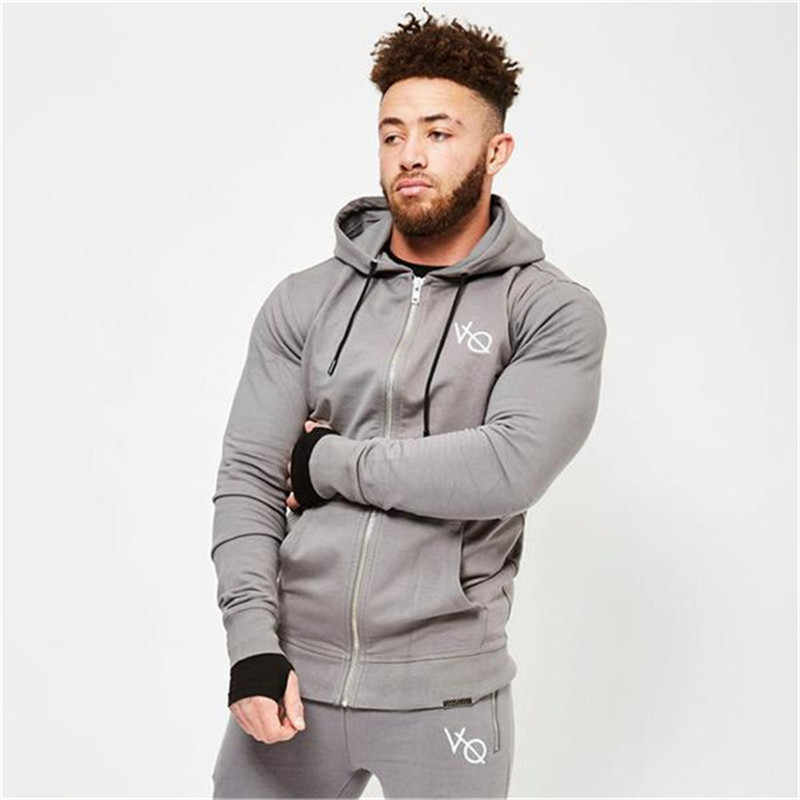 2018 nueva chaqueta para correr marca Sudadera con capucha de algodón para hombre Fitness culturismo Sudadera Hombre Pullover capuchas para el gimnasio chaqueta deportiva hombres