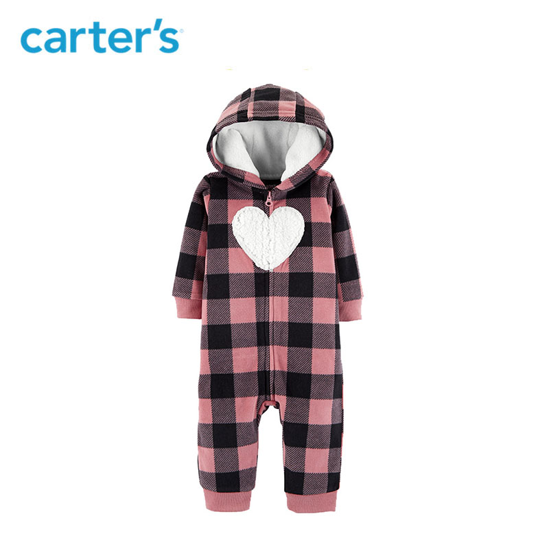 Carter/'s Girls Pink /& White Plaid CUTE Hooded Fleece Jumpsuit with Kanga Pockets