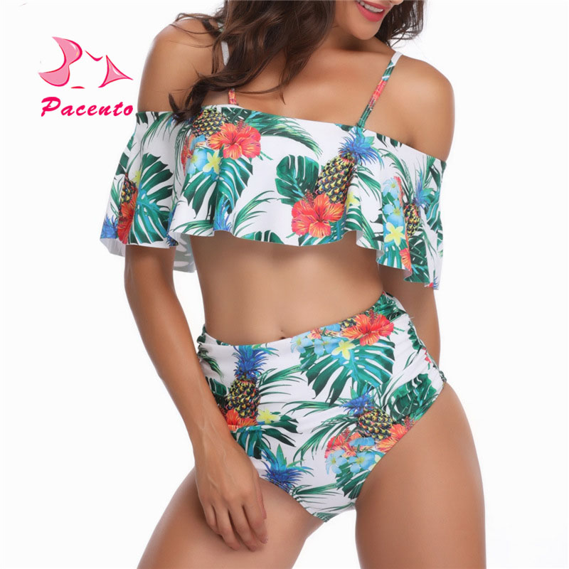 Pacento piña Bikini 2018 Push Up alta cintura Flounce imprimir Floral traje de baño mujeres grandes Plus Size XL XXL Plavky Badpak