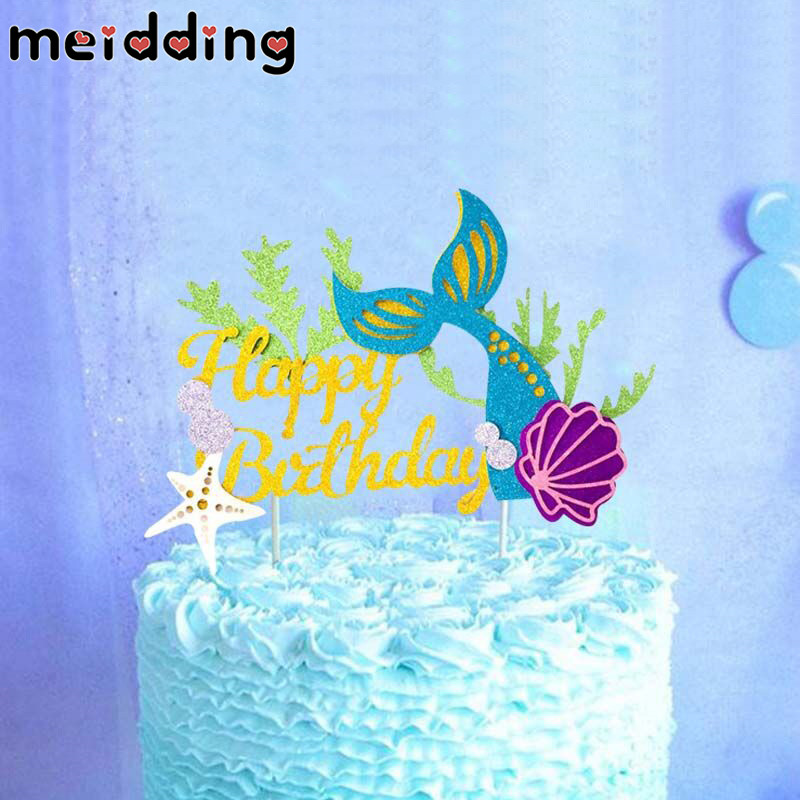 Hot Sale Meidding Happy Birthday Cake Topper Little Mermaid Theme