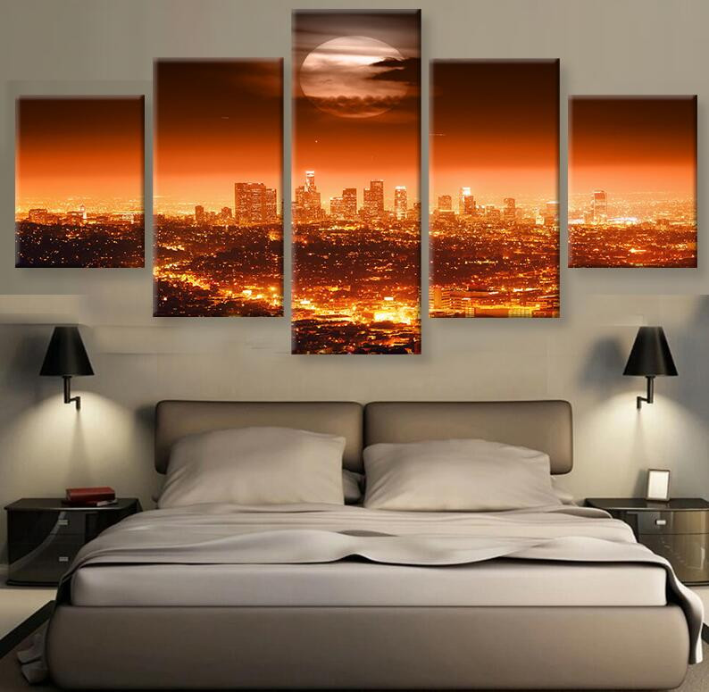 Los Angeles Home Decor: Los Angeles Fire Glow HD Canvas Painting Wall Art Game 5