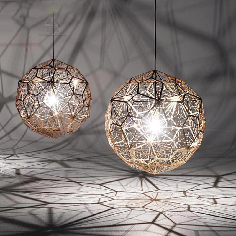 Chrome replicas modern copper etch web pendant lights stainless steel lampshade home lighting - Stainless steel kitchen pendant light ...