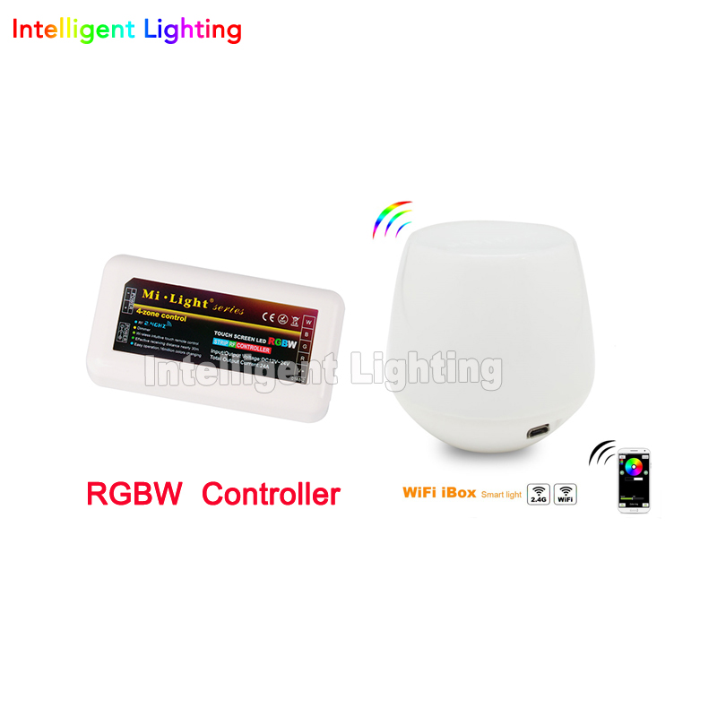 Mi.light 2.4G WiFi +1x RGBW LED controller group control 4-Zone Wireless For 5050 3528 RGBW Led Strip Light via Phone Pad milight remote wifi 4x rgbw led controller group control 2 4g 4 zone wireless rf touch for 5050 3528 rgbw led strip light