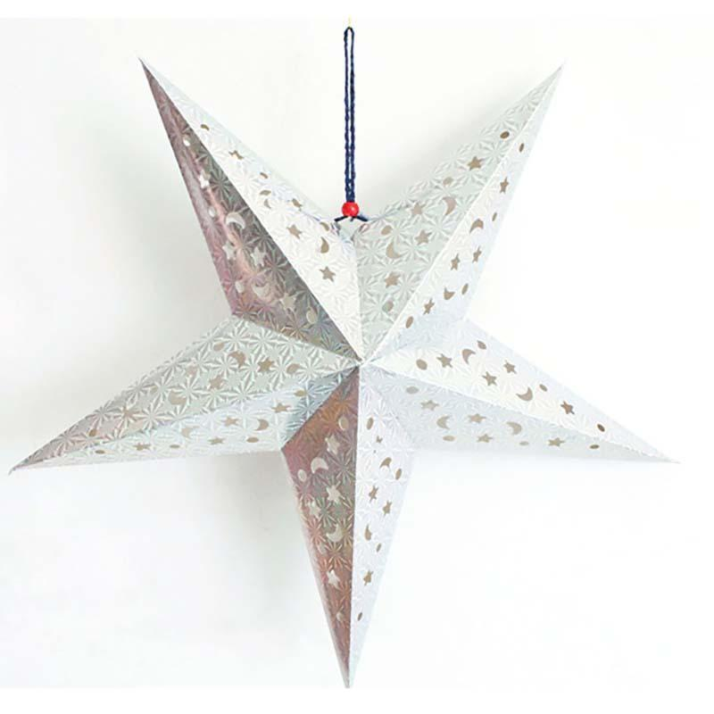 90cm Sided laser Christmas pointed dimensional paper Five Three star bar Ceiling Colorful stars Paper lampshade A5