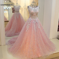 LS60419 Sparkly evening dresses robes de soiree longue O neck A line tulle beaded crystals prom dress long 2017 real works