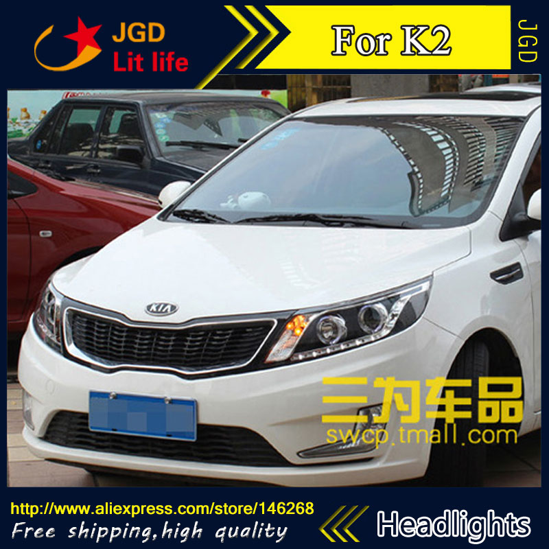 Free shipping ! Car styling LED HID Rio LED headlights Head Lamp case for KIA RIO K2 2011 2012 Bi-Xenon Lens low beam akd car styling for kia k2 rio headlights 2011 2014 korea design k2 led headlight led drl bi xenon lens high low beam parking