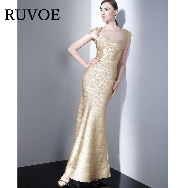 af9601db Mermaid Fishtail Gold Metallic Cap Sleeve 2016 Women New Celebrity Evning  Party Floor Length Maxi Rayon Bandage Dress SY-105