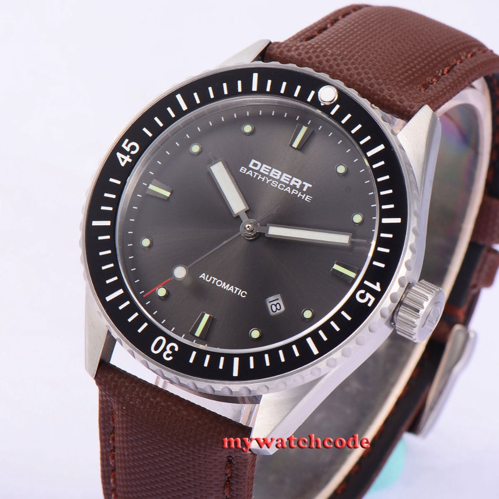 43mm Debert gray dial Sapphire glass 21 jewel miyota Automatic mens Watch D35B43mm Debert gray dial Sapphire glass 21 jewel miyota Automatic mens Watch D35B