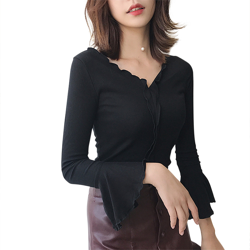 Autumn Female Sexy T-shirt Ruffles V Neck Loose Chiffon T Shirt Women Long Sleeve Office Tulle Shirts Women Flare Sleeve T Одежда