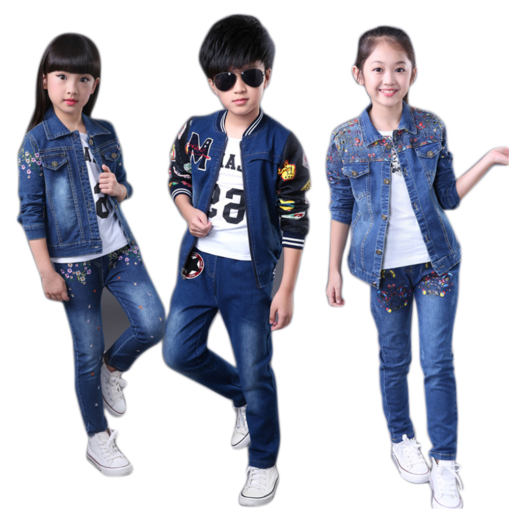 Baby Girl Clothes 10 11 13 9 7 Years Girls Clothing Set Denim Jacket Jeans 2pcs Flower Girl Suit Cotton Casual Girls Outfits Girls' Clothing Mother & Kids