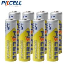 8 Pçs/lote 2A Baterias PKCELL AA NI MH 2000mAh 1.2V Bateria Recarregável AA Bateria Baterias AA NIMH pilhas para lanterna