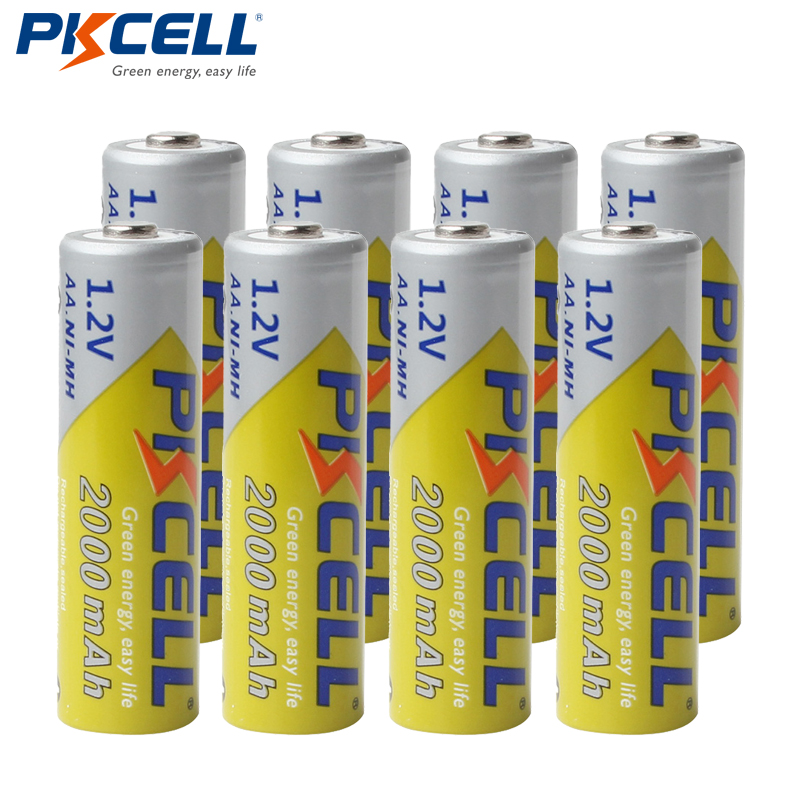 8Pcs/lot PKCELL AA Batteries NI-MH 2A 2000mAh 1.2V AA Rechargeable Battery Bateria Baterias