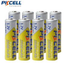 8Pcs/lot PKCELL AA Batteries NI MH 2A 2000mAh 1.2V AA Rechargeable Battery Bateria Baterias  AA NIMH batteries for flashlight