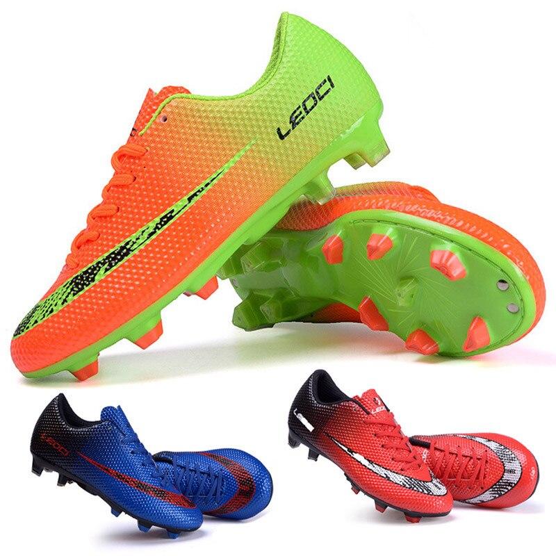 LEOCI Fußball Schuhe Fußball Stiefel Stollen Chuteiras botas de futbol voetbalschoenen Erwachsene & Kinder Outdoor Fußball Turnschuhe TF/FG