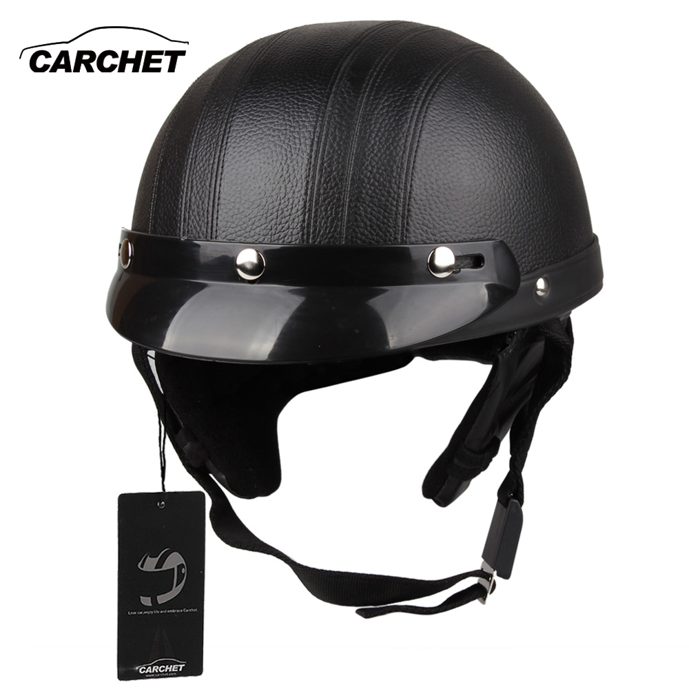 CARCHET Motorcycle Helmet Open Face Visor Motocross Motor Helmets With Goggles Scarf Adjustable For Hare Retro Outdoor Cycling
