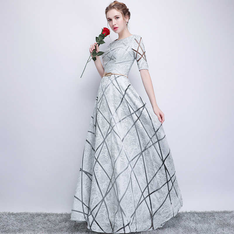 Женское вечернее платье SSYFashion, серое, с коротким рукавом, длиной до пола