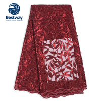 Bestway Polish Sequins High Quality Lace Fabric Glitters French Tulle Mesh Fabric Latest Wine Red Fabric Lace For Women's Party