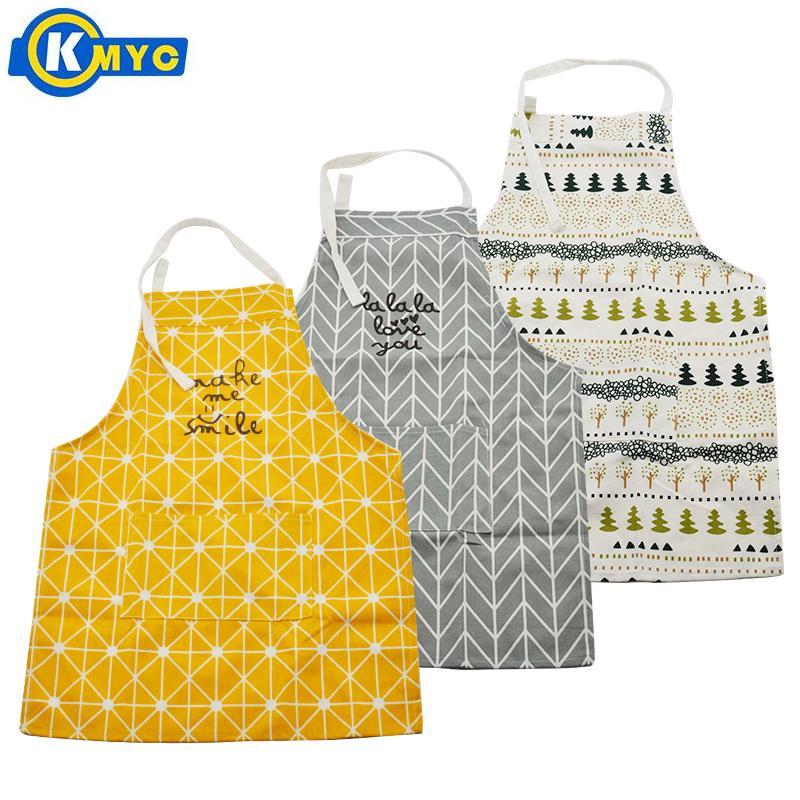 Kmyc 100% Fiber Keuken Schort Met Pocket Leuke Glimlach Boom Patroon Schorten Voor Volwassen Kinderen Creatieve Thuis Bakken Koken Accessoires