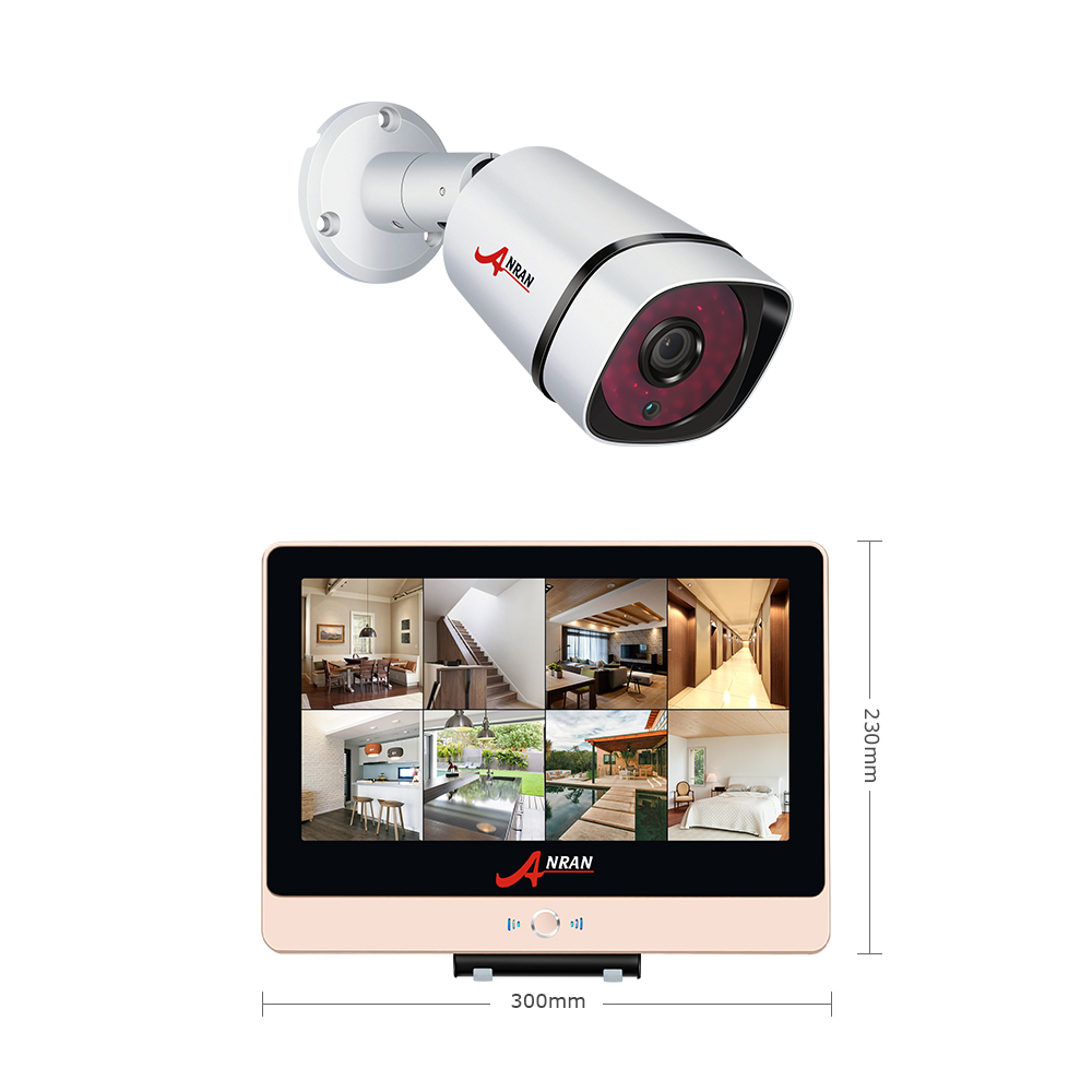 ANRAN New Arrival! 8CH Plug And Play 2.0MP POE NVR CCTV Kit+12LCD&1080P HD Outdoor+Indoor IR POE Security Camera System+2TB HDD