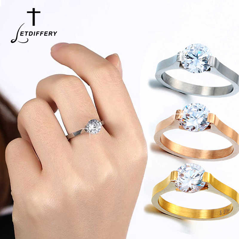 Letdiffery   Large Cubic Zirconia Ring for Women Rose Gold Stainless Steel Engagement Fashion Jewelry Rings Drop shipping 2019