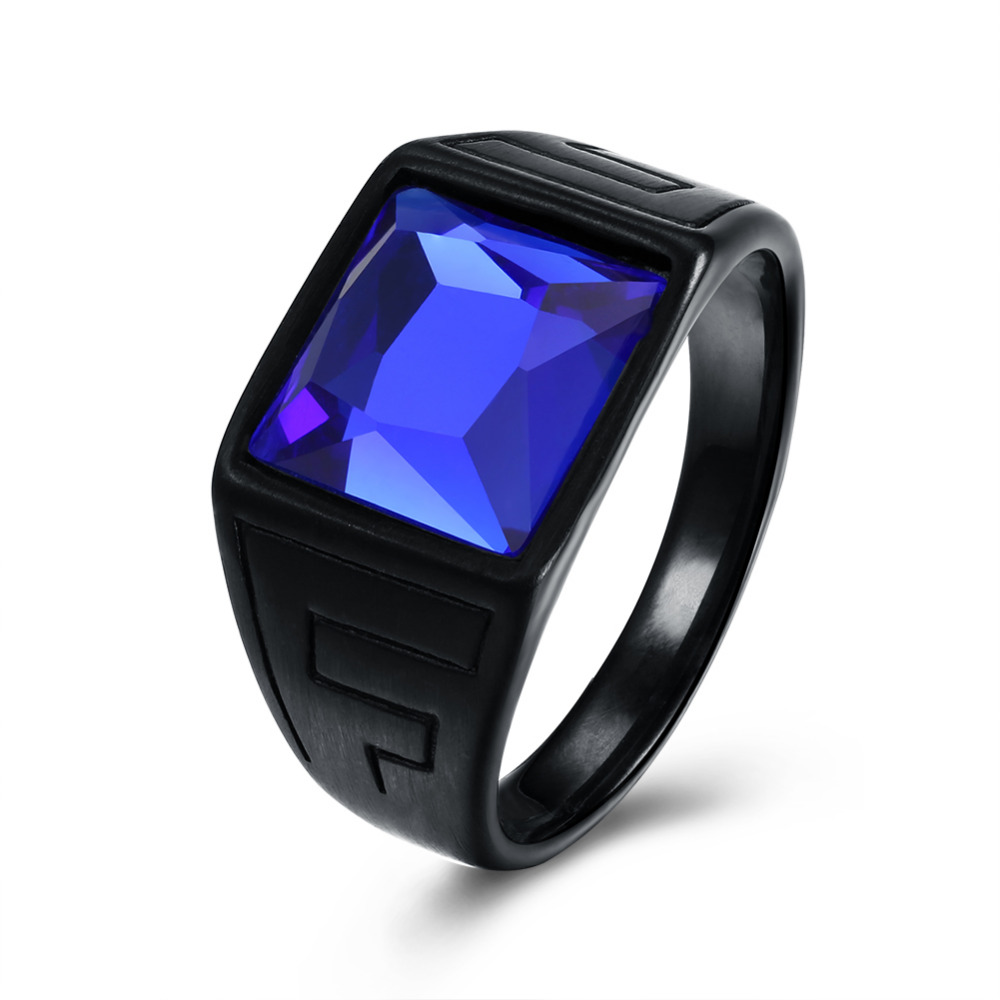 Fancy 316 Stainless Steel Men Ring Blue Stone Black Gun Plated Color for Male Homme Party Hot Sale Anniversary & Gift Jewelry
