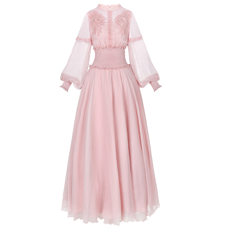 YOSIMI 2019 Summer Chiffon Long Women Dress Red Stand Neck Long SLeeve Vintage Maxi Empire Pink Ladies Party Dress Ankle-length