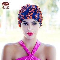 Handmade Swimming Caps Free Size Flower Bathing Cap Protect Ears Hair Women Adults Swim Pool Cap Hat