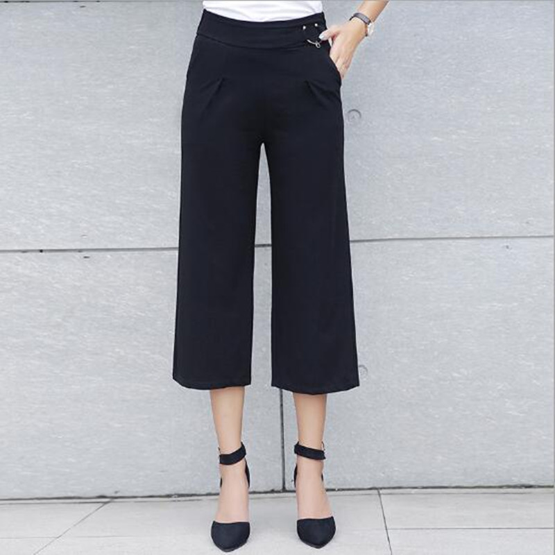 WKOUD Women's Capris   Pants   Summer Solid   Wide     Leg     Pants   Pockets High Waist Loose Casual Trousers Female Calf-Length   Pants   P8296