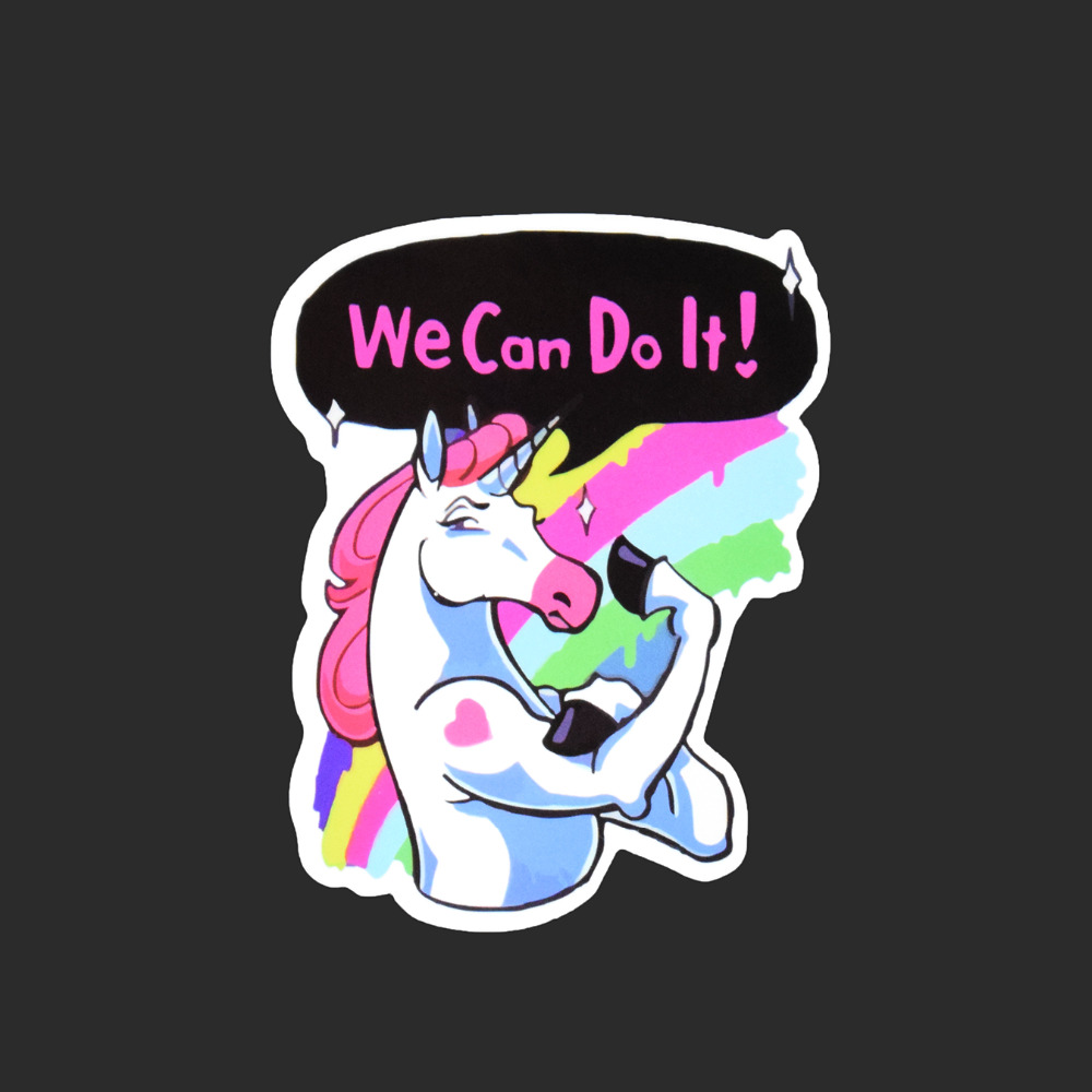 Rainbow Unicorn Single Sticker Car Styling Waterproof Fashion Tied Brand Stickers Luggage Skateboard Funny Colorful Decals