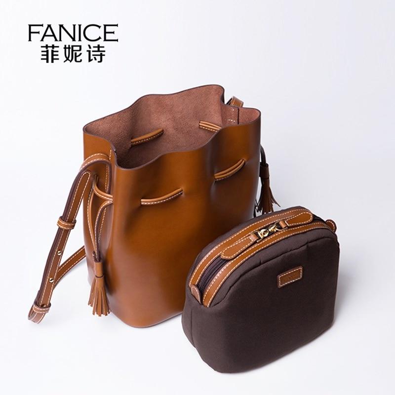 цена FANICE High Capacity Women Split Leather Drawstring Bucket Bag Vintage Women Handbag  Female Tassel Messenger Shoulder Bags онлайн в 2017 году