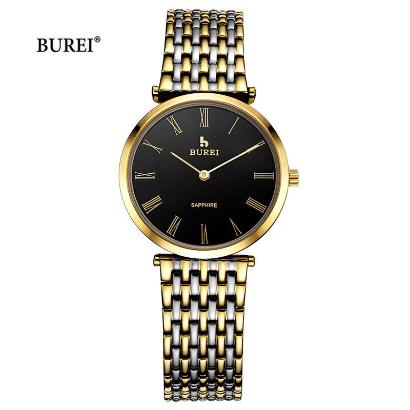BUREI Men Gold Silver Rose Gold Watch Men Waterproof Fashion Business Sapphire Crystal Quartz Wrist Watch Saat Relogio Masculino zhongyi w801 fashion alloy shell analog quartz wrist watch for men black rose gold