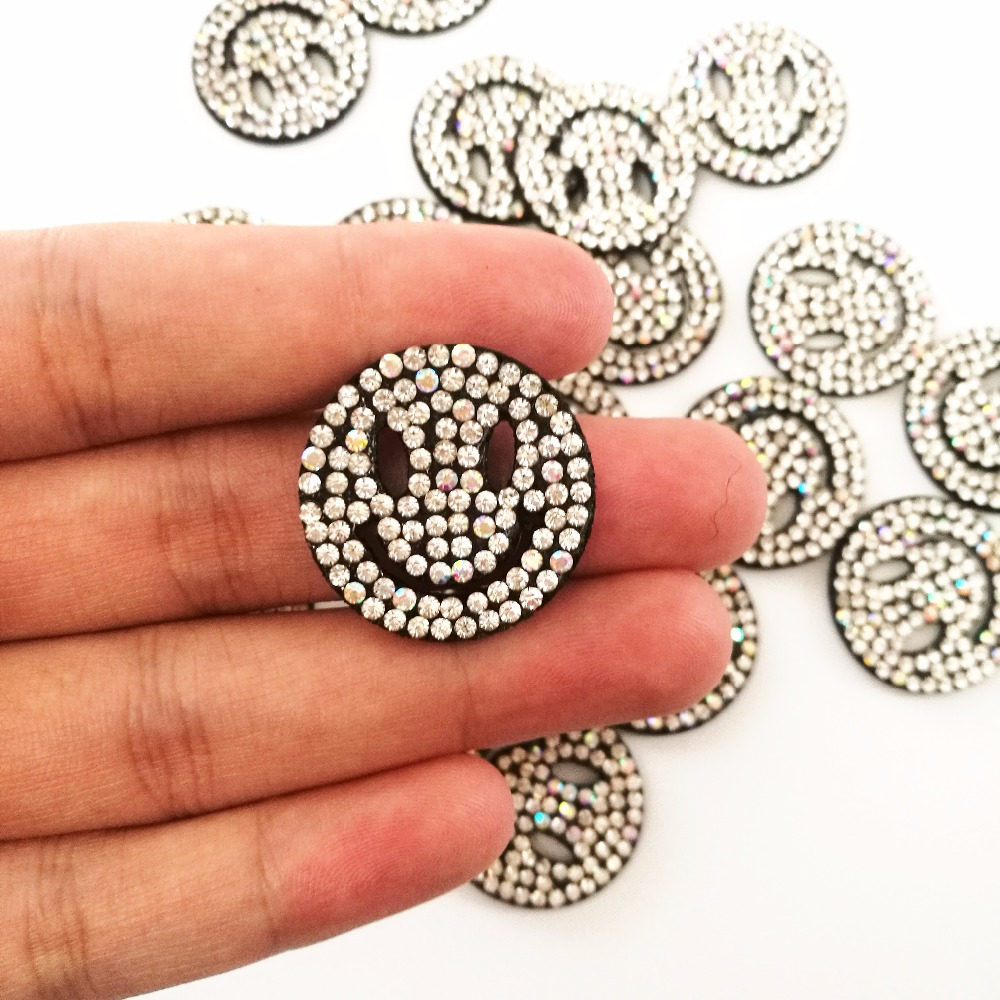 Smiley face Rhinestones Patches Hotfix Strass Motifs Crystal Applique  badges For Jeans Clothing Decorations patch for shoe bag-in Patches from  Home   Garden ... 15369a173aff