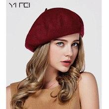 Ифэй зима Для женщин шляпа Винтаж Беретки для женщин шерсть 32 цвета Кепки Pillbox Hat Gorras Планас Hombre Шапки берет boinas Mujer шерсть шапка-бини