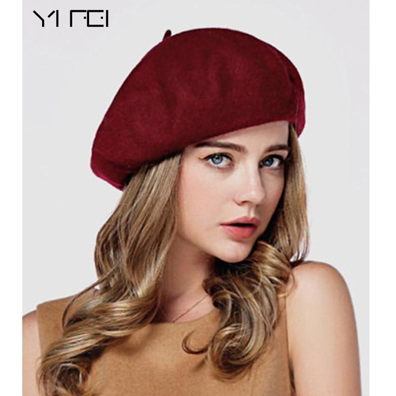 YIFEI Winter Frauen Hut Vintage Berets Wolle 32 farben Kappe Pillbox hut Gorras Planas Hombre Hüte Beret Boinas Mujer Wolle Beanie hut