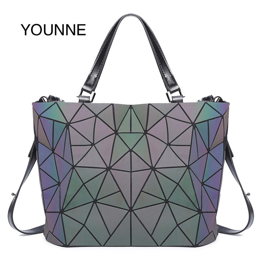 Women Geometric Laser Diamond Backpack  Luminous Fold Shoulder Tote Bag Handbag