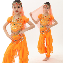 4pcs Kid Girls Belly Dancing Costume Set Kids Performance Indian Dance Children Girl Bellydance Egypt Costumes