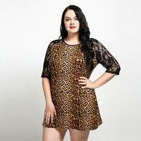 2018 Kobiety Lato Sukienka Plus Size Leopard Mini-Line Suknie Vestidos 3/4 Koronki Rękaw Loose Casual High Street Kobiety Odzież 6x