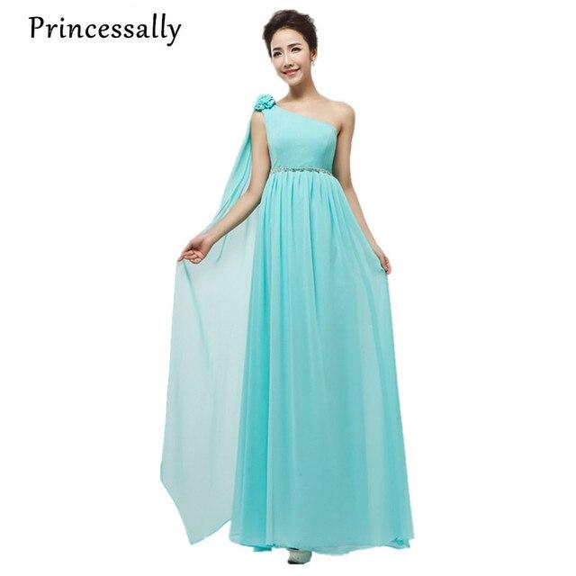 2080cdb17b34 Light Blue Dress Damigella D onore Una Spalla Cristalli Vita Multi Colore A  Vita Alta